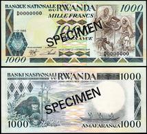 Rwanda 1000 Francs 1988 UNC Specimen - Rwanda