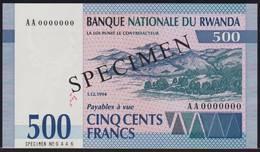 Rwanda 500 Francs 1994 UNC Specimen - Ruanda