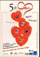 **5 De COEUR ** 2001 Quintet Vocal A Capella Auditorium De St Germain Des Près   CP Pub Neuve - Musique Et Musiciens