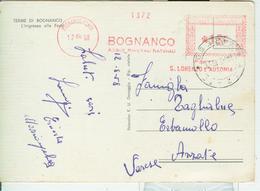"""""""BOGNANCO ACQUE MINERALI NATURALI"""" FONTE S.LORENZO E AUSONIA -AFFRANCATURA ROSSA,1958,AZZATE (VARESE),TERME DI BOGNANCO - Affrancature Meccaniche Rosse (EMA)"""