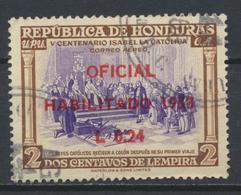 °°° HONDURAS - Y&T N°21 PA SERV. OFICIAL - 1953 °°° - Honduras