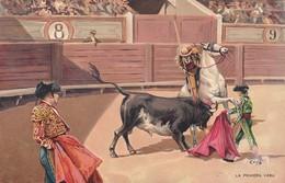 LA PRIMERA VARA. STENGEL. TOROS, BULLS CORRIDAS. CIRCA 1890s - BLEUP - Corrida