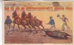 ARRASTRE. ENTRAINET LE TAREAU MORT DEHORS. JDP. TOROS, BULLS CORRIDAS. CIRCA 1900s - BLEUP - Corrida