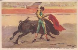 UN PASE DE PECHO, LE TAREAU PASSANT DEVANT LA POTRINE. JDP. TOROS, BULLS CORRIDAS. CIRCA 1900s - BLEUP - Corrida