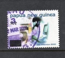 2001 Overprint 50t PAPUA NEW GUINEA Compact Disc, Web Site And Man Using Computer On Value 65t VERY FINE USED Purple P/m - Papua Nuova Guinea