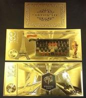 1 Billet Plaqué OR Couleur + Certificat ! ( Color GOLD Plated Banknote ) - Football France Coupe Du Monde 2018 - Russie