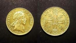 COPIE - Pièce Plaquée OR Sous Capsule ! ( GOLD Plated Coin ) - Louis XIII 1/2 Louis 1642 - 1610-1643 Louis XIII Le Juste