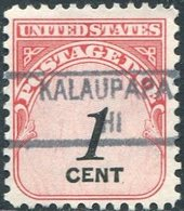 USA Territory Of Hawaii Local Precancel KALAUPAPA Molokai Island Vorausentwertung Timbre Préoblitéré Postage Due - Hawaii