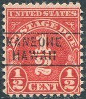 USA Territory Of Hawaii Local Precancel KANEOHE Oahu Island Vorausentwertung Timbre Préoblitéré Postage Due - Hawaii