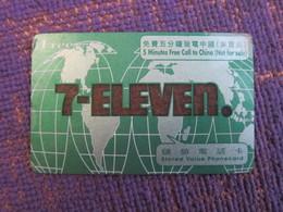 7-Eleven Prepaid Phonecard, 5 Minutes Free Call To China ,edge And Corner Damaged - Hong Kong