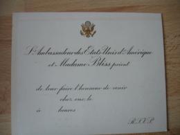 Faire Part  Ambassadeur Des Etats Unis Bliss Invitation  A Leur Domicile - Faire-part