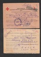 2 Interess. Gefangenen-Postkarten - 1945-60 Briefe U. Dokumente