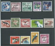 Nauru 1968 Republic Overprint Definitive Set Of 14 MNH - Nauru