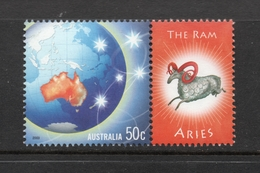 2003 ZODIAC - ARIES THE RAM 50c MNH MAP Stamp With RIGHT MARGIN TAB - Issued In AUSTRALIA - 2000-09 Elizabeth II