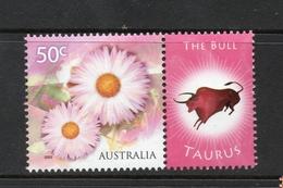 2003 ZODIAC - TAURUS THE BULL 50c MNH PINK FLOWERS Stamp With RIGHT MARGIN TAB - Issued In AUSTRALIA - 2000-09 Elizabeth II