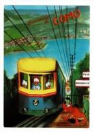 """Carte Illustrée - Souvenir Di Como - Le Train à Crémaillière """"Per Brunate"""" Est Conduit Par Donald & Ses Neveux, Pluto - Disney"""