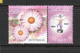 2003 ZODIAC - LIBRA THE SCALES 50c MNH PINK FLOWERS Stamp With RIGHT MARGIN TAB - Issued In AUSTRALIA - 2000-09 Elizabeth II