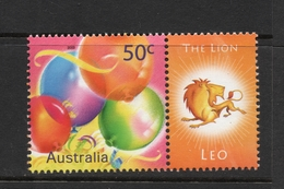 2003 ZODIAC - LEO THE LION 50c MNH BALLOONS Stamp With RIGHT MARGIN TAB - Issued In AUSTRALIA - 2000-09 Elizabeth II