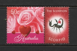 2003 ZODIAC - SCORPIO THE SCORPION 50c MNH RED ROSES Stamp With RIGHT MARGIN TAB - Issued In AUSTRALIA - 2000-09 Elizabeth II