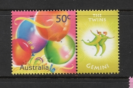 2003 ZODIAC - GEMINI THE TWINS 50c MNH BALLOONS Stamp With RIGHT MARGIN TAB - Issued In AUSTRALIA - 2000-09 Elizabeth II