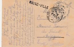 HAVRE - VILLE , Griffe Linéaire , Cachet  S M , Postes  Militaires  1 ( De Gand 5-3-1919 ) - Poststempel
