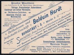 A6074 - Burgstädt Balduin Hardt Dresdner Wurstwaren - Fleischerei - Nachfolger F.W. Gottlöber - Rechnung Werbung Reklame - Alimentaire
