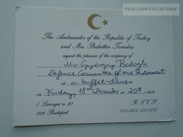 ZA153.7  Turkey  Turkish Ambassador  Invitation  Hungary Ca 1991 Budapest Turkish Embassy - Faire-part
