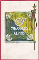 CPA  Drapeau  30é Régiment De CHASSEURS ALPINS  Roye Guise Tête Des Faulx Turckheim  ( L101  Militaire - Militaria
