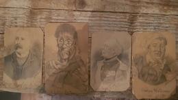 4 Dessins Portraits 19e Siècle Signés D. WIBAULT - Francois Watteau, Le Bottier Frick, Baron Raoul Des Rotours Et ... - Dibujos