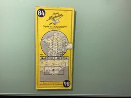 Carte MICHELIN N° 84 - MARSEILLE - MENTON - Année 1956 - Cartes Routières