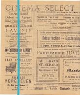 Ciné Cinema Bioscoop Pub Reclame Programma - Ciné Select Gand Gent - +- 1930 - Publicité Cinématographique