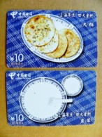 2 Cards Phonecard Plastic Card From China Telecom Food 10y. - Chine