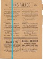 Ciné Cinema Bioscoop Pub Reclame Programma - Ciné Palace Gand Gent -  +- 1930 - Publicité Cinématographique