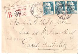 Lettre Recommandée De PARIS 127 ( Tarif Du 1/3/1945 Au 31-12-1945) - Marcophilie (Lettres)