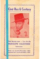 Ciné Cinema Bioscoop Pub Reclame Programma - Ciné Rex & Century Gent - Het Leven Van Rudolph Valentino 1951 - Publicité Cinématographique