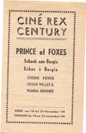 Ciné Cinema Bioscoop Pub Reclame Programma - Ciné Rex & Century Gent - Prince Of Foxes - 1949 - Publicité Cinématographique