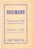 Ciné Cinema Bioscoop Pub Reclame Programma - Ciné Rex  Gent - Florence Is Gek - 1946 - Publicité Cinématographique