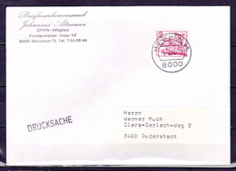 BRD, MiNr. 916 A I; EF Auf Portoger. Brief / Drucksache Von München Nach Duderstadt; B-1012 - [7] Federal Republic