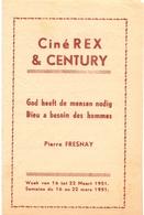 Ciné Cinema Bioscoop Pub Reclame Programma - Ciné Rex & Century Gent - God Heeft Mensen Nodig - 1951 - Publicité Cinématographique