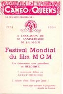 Ciné Cinema Bioscoop Pub Reclame Programma - Ciné Cameo & Queens - Festival Film MGM - Bruxelles 1954 - Publicité Cinématographique