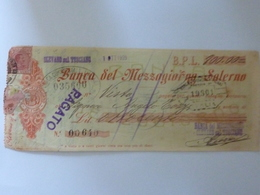 """Assegno """"BANCA DEL MEZZOGIORNO OLEVANO SUL TUSCIANO ( SA ) OTTOBRE 1925 Lire 800.00"""" - Cheques & Traveler's Cheques"""