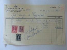 """Ricevuta """"TENUTA DI GROTTI Prop. Marchesa  LAURA BALLATI NERLI  VILLE DI CORSANO ( SI )  31 Gennaio1954"""" Con Marche - Italia"""