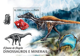 ANGOLA 2018 - Dinosaurs And Minerals S/S. Official Issue - Mineralen