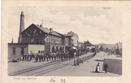 949/ Gruss Aus Borkum, Bahnhof, Trein, Veel Mensen, 1907 - Borkum