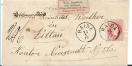 Sac032 /  Einschreiben Aus Haida 1877 Mit Bahnpost-R-Zettel Löbau-Ebersbach-Zittau. Frühverwendung!! - Allemagne