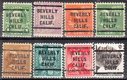 USA Precancel Vorausentwertung Preo, Locals California, Beverly Hills 235, 8 Diff., Perf. 11x10 1/2 - Etats-Unis