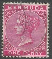 Bermuda. 1883-1904 Queen Victoria. 1d Used. Carmine. Crown CA W/M SG 24a - Bermuda