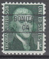 USA Precancel Vorausentwertung Preo, Locals California, Bonita 841 - Préoblitérés