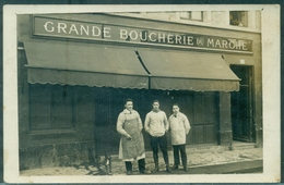 69.VENISSIEUX CP Photo Commerce GP Animé Grande Boucherie Du Marché TB Rare 1920 Environ - Vénissieux