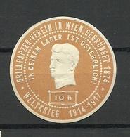 AUSTRIA Österreich Ca 1915 Grillparzer-Verein Wien WWI Weltkrieg Siegelmarke Seal Stamp - Vignetten (Erinnophilie)